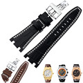 AUTO 28MM AP Watchbands Durable Genuine Leather Watch Straps for Audemars Piguet Stainless Steel Folding Clasp Shipping + TOOLS