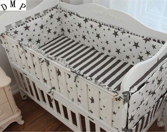 Promotion! 5PCS Cartoon Baby Cot Bedding Set Bed Linen Jogo De Cama 100% Cotton Curtain Crib Bumper For Baby (4bumpers+sheet)