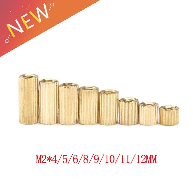 50pcs/lot M2*4/5/6/8/9/10/11/12 mm Brass Round Standoff Spacer Female Female M2 Brass Threaded Spacer