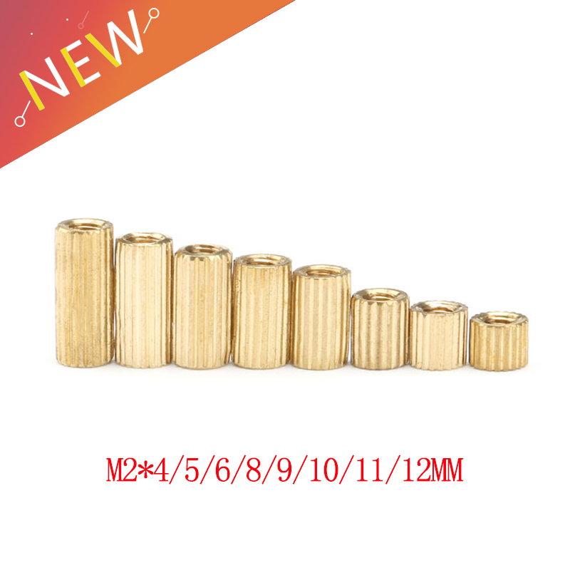 50pcs/lot <font><b>M2</b></font>*4/5/6/8/9/10/11/12 mm <font><b>Brass</b></font> Round <font><b>Standoff</b></font> Spacer Female Female <font><b>M2</b></font> <font><b>Brass</b></font> Threaded Spacer image
