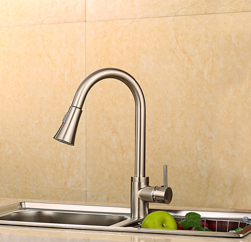 Hot Sale Fashion Pull Out Kitchen Sprayer Faucet/ Brass NICKEL BRUSHED Material  Design Hot And Cold Wash Basin Sink Mixer Tap kitchen chrome plated brass faucet single handle pull out pull down sink mixer hot and cold tap modern design