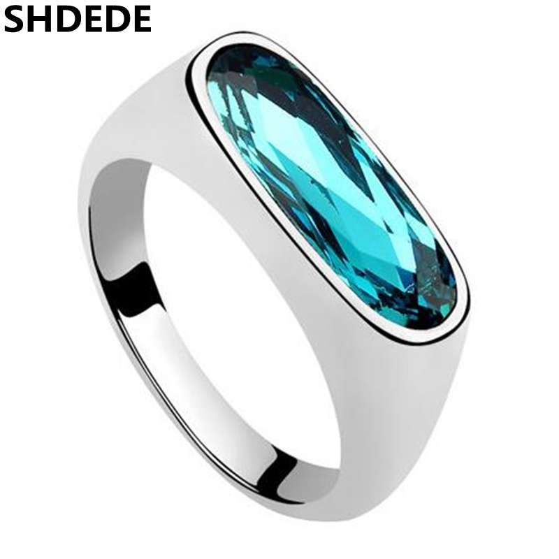 SHDEDE Blue Crystal from Swarovski Charm Designer Jewelry Fashion Wedding And Engagement Ring For Women -6871 цены онлайн