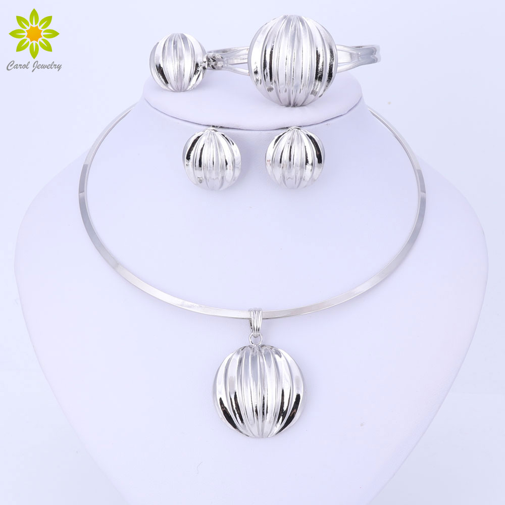 Dubai Jewelry Set Ball Pendant Necklace Earrings Bracelet Ring Silver Color Jewelry Set Women's Wedding Accessories