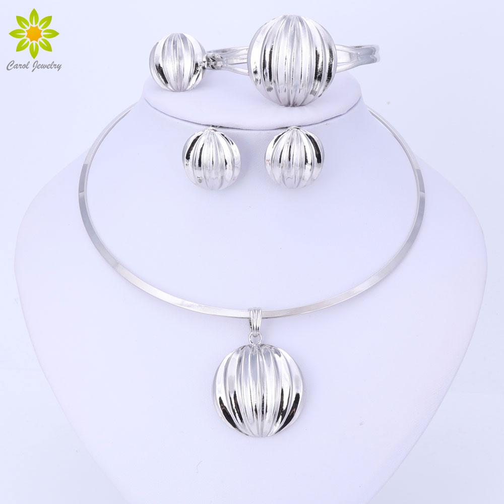Dubai Jewelry Set Ball Pendant Necklace Earrings Bracelet Ring Silver Color Jewelry Set Women's Wedding Accessories
