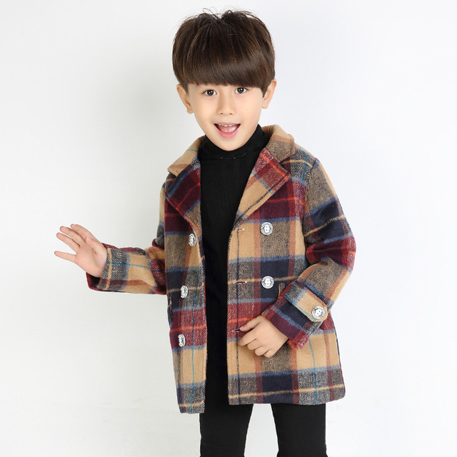 Boy plaid coat double - breasted long double - layer cashmere jacket cotton woolen jacket children 's clothing