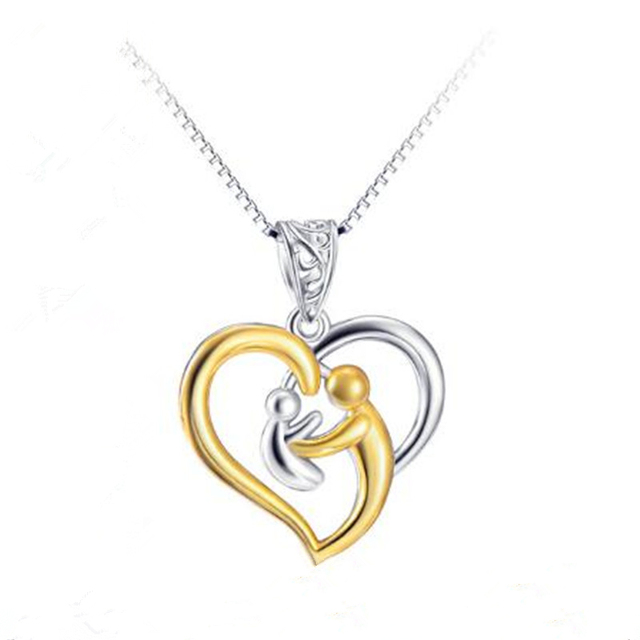 925 Sterling Silver Jewelry Birthday Gift For Mother Baby Heart Charm Pendant Mom Daughter Son Child Family Necklace