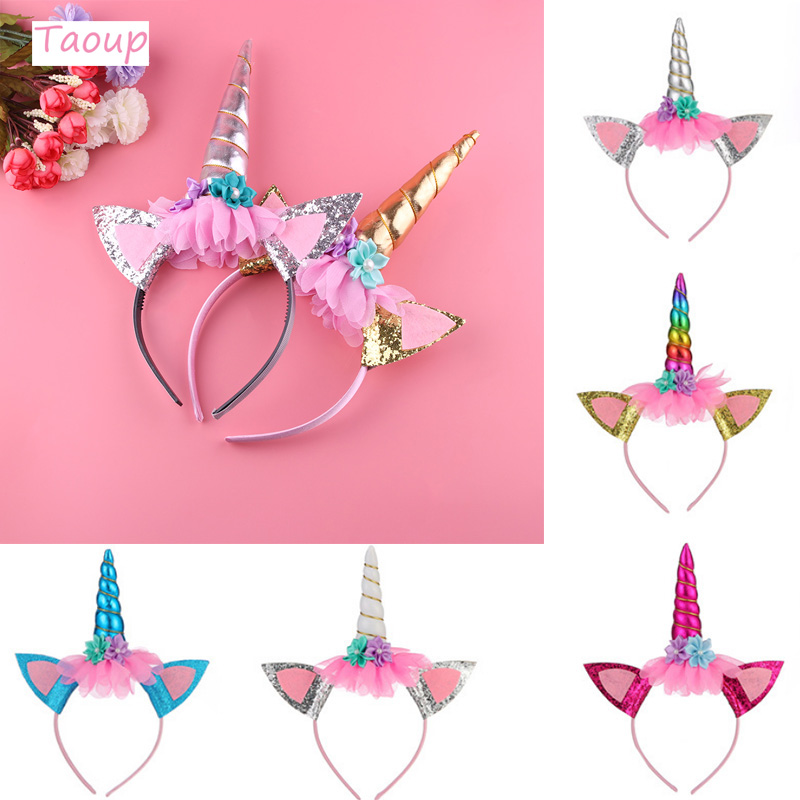 Taoup 1pc Cute Unicorn Headband Birthday Party Decors Kids Unicorn Party Favors Baby Shower Girls Unicornio Birthday Decor Balon