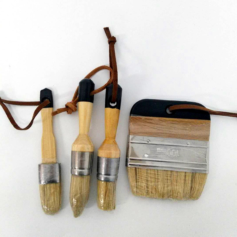 4PC Wooden Handle Chalk Paint Pointed Brush Bristle Chalk Oil Painting Wax Brush Artist Art Supplies Hand Tool Set Free Shipping