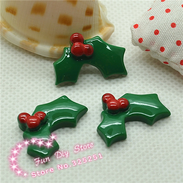 Flat Back Christmas Holly Leaf For Decoration 14*20mm 50pcs/lot