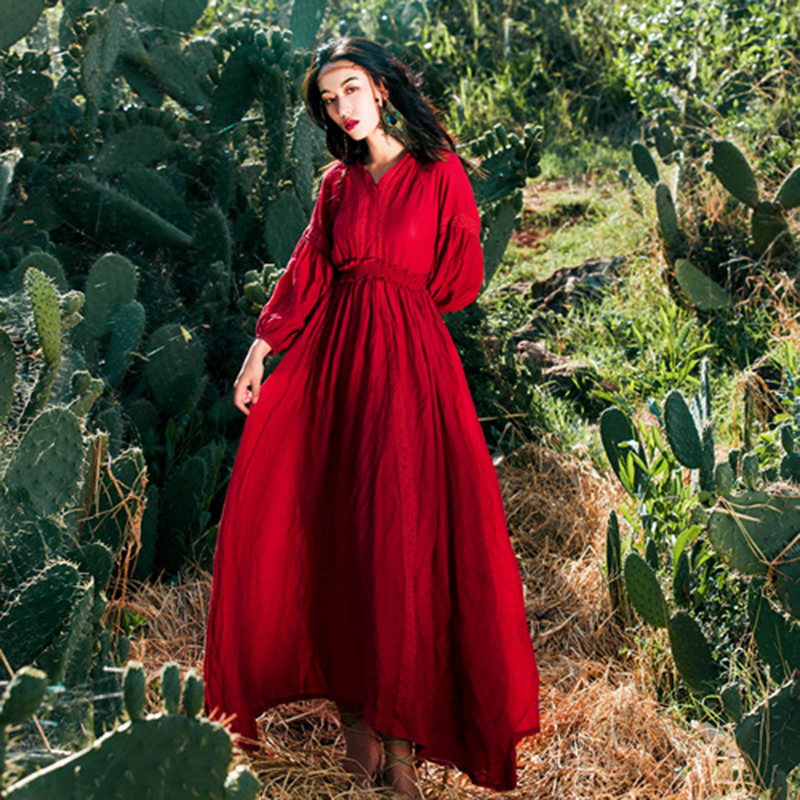 KHALEE YOSE Red Vintage Maxi Dress Women Summer Cotton Boho Dresses V neck Backless Empire Long