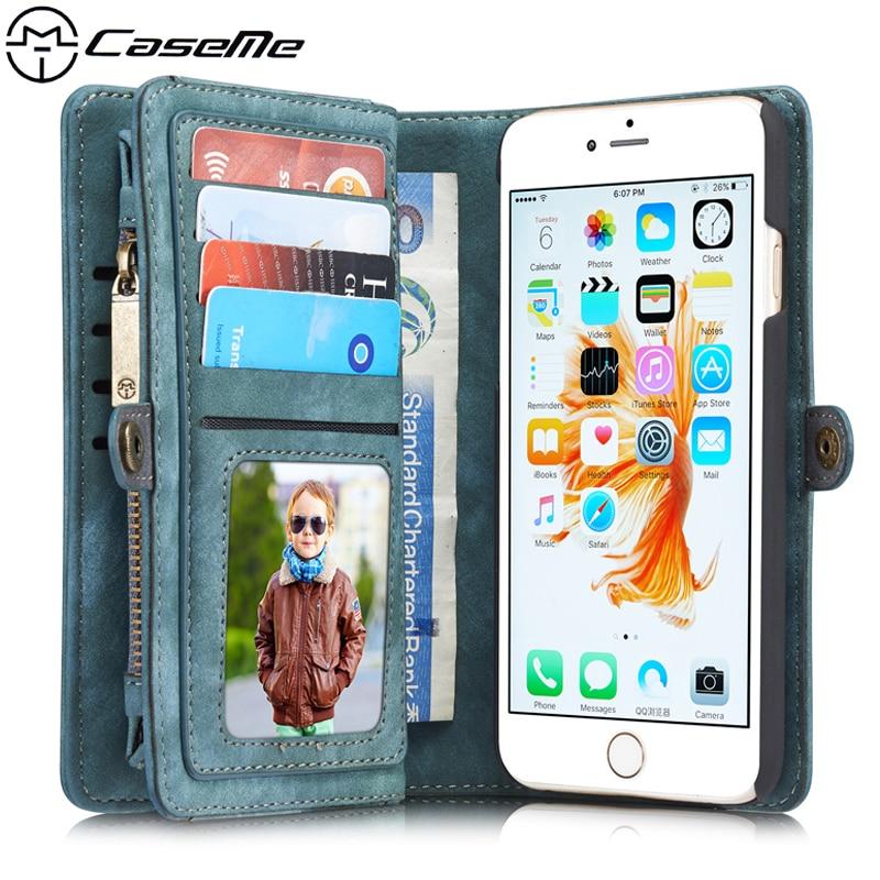 Цена за Для Apple iPhone 6 Крышка 4.7 ''6 S Ретро Кожаный Чехол с Молния Бумажник Карты Многофункциональный Магнитный Телефон Задняя Крышка для iPhone6