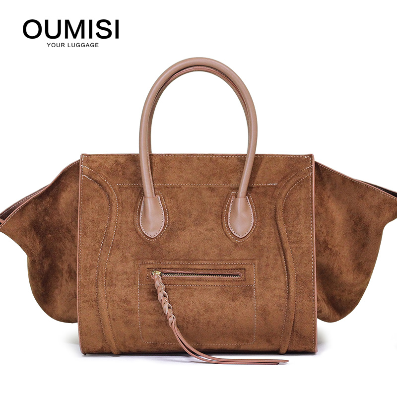 2018 New smile pack suede leather handbag fashion bag Classic retro big bag Shoulder Wings package woman bag 247 classic leather