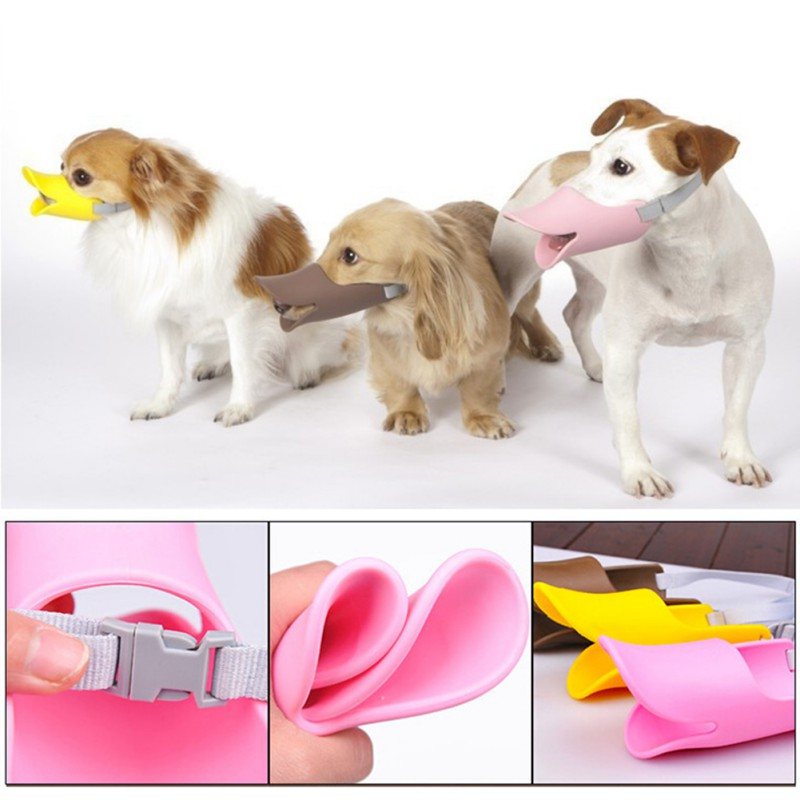 3 Sizes 3 Color Soft Silicone Dog Duck Muzzle Pet Protection