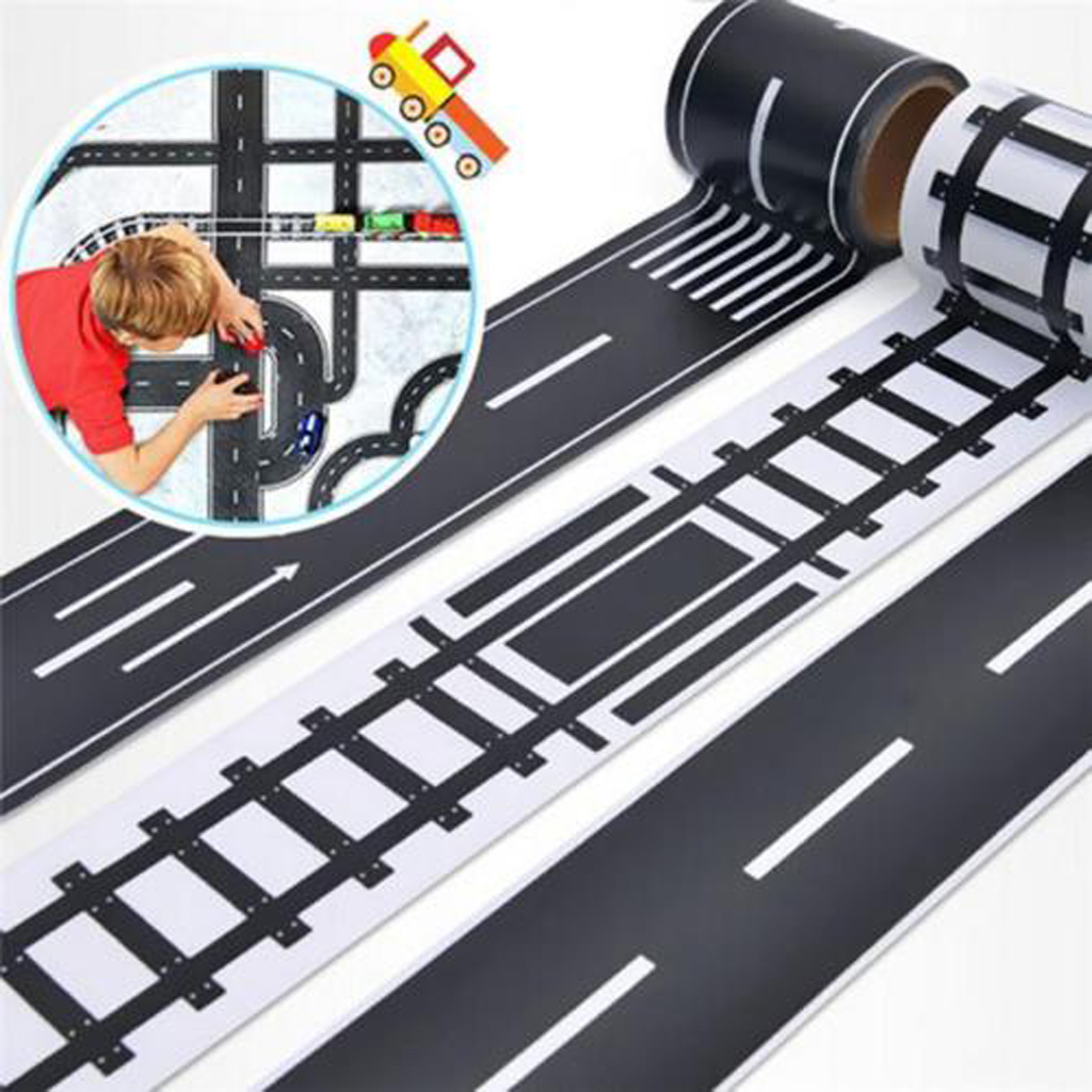 Road Tapes 2 Roll Set 48mmX5m Railway Road Washi Tape DIY Traffic Road Adhesive Masking Tape Road for Kids Toy Car Play Supplies
