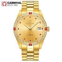 Carnival Automatic Watch Men Gold Diamond Mechanical Watches Top Brand Luxury Stainless Steel Waterproof Wristwatch
