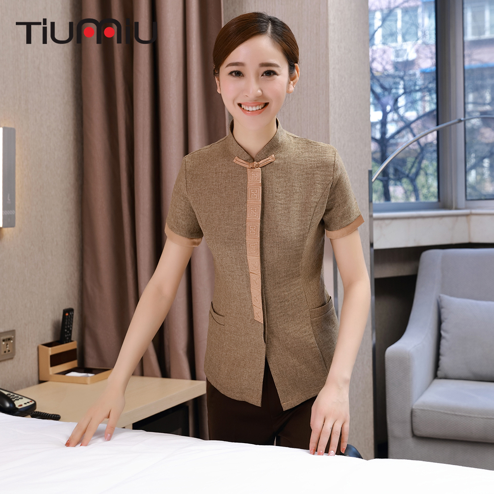 2018 Drop Ship Restaurant Hotel Uniform Short Sleeve Workwear Housekeeping Cleaning Service Women Cooking Overalls Waiter Jacket