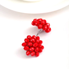 Cute Fruit 3D Red Crystal Cluster Earrings For Women Vintage Statement Jewelry Stud Earrings 2018 Fashion