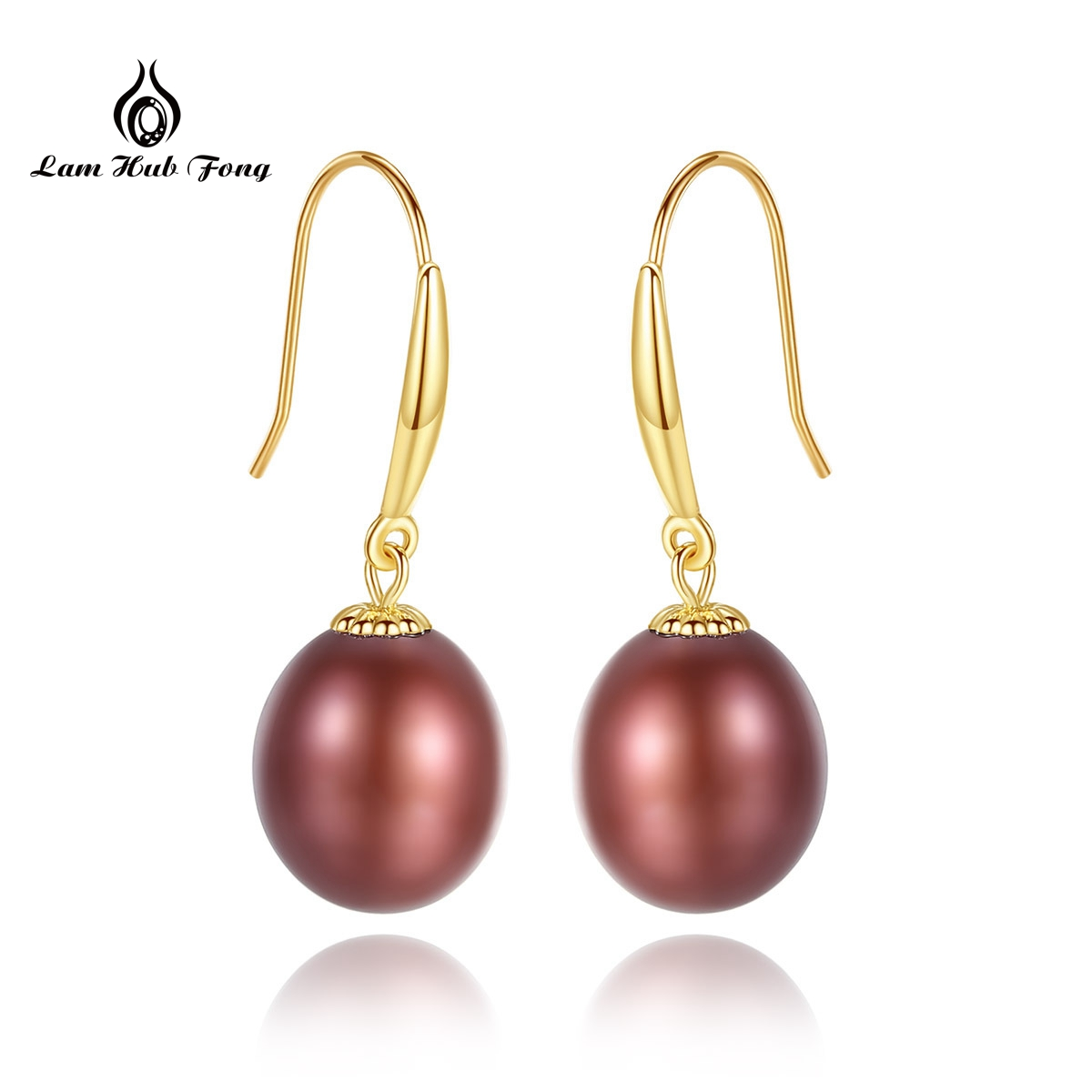 18K Gold red Pearl Earrings Pearl Fine Jewelry Natural Freshwater Au 750 Yellow Gold Drop Earrings
