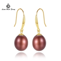 18K Gold red Pearl Earrings Pearl Fine Jewelry Natural Freshwater Au 750 Yellow Gold Drop Earrings Wedding Party Mum best Gift
