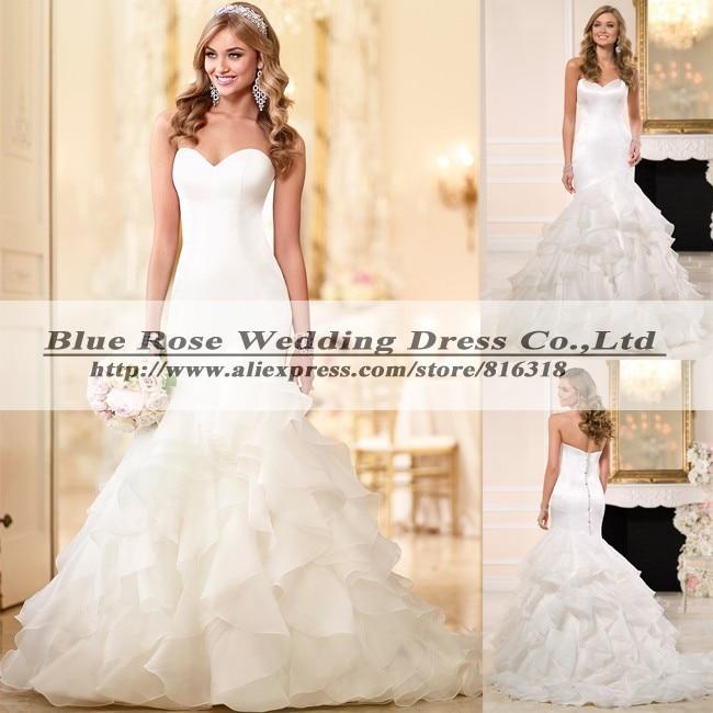 Blue Ruffle Wedding Dress