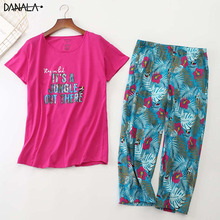 цена на DANALA Cotton Casual Women Sleepwear Tops With Long Pants Floral Print Pyjamas Short Sleeve Striped Nightwear