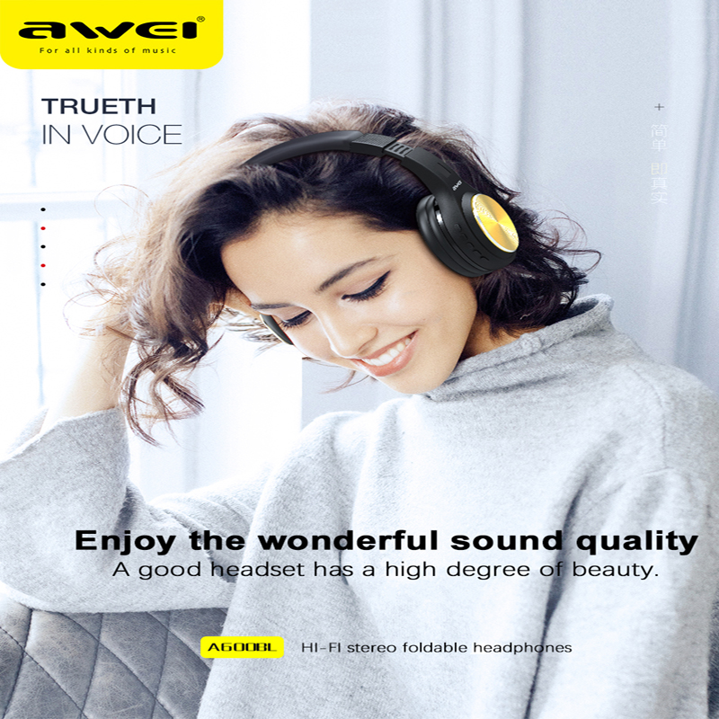 Awei A600BL High quality Sound Headset Stereo Bluetooth Wireless Music Headset Folding Running Headphone Large Battery Capacity
