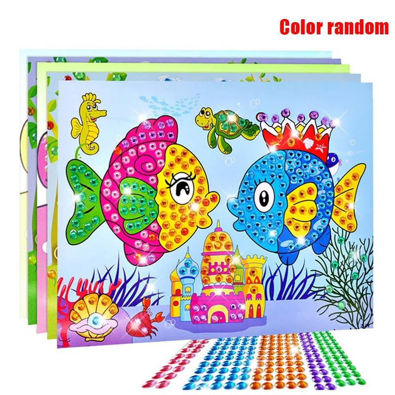 Hot Sale 5pcs Different Kids Children Kindergarten Educational Puzzles Crystal Diamond Mosaic Sticker Painting Diy Crafts Toys