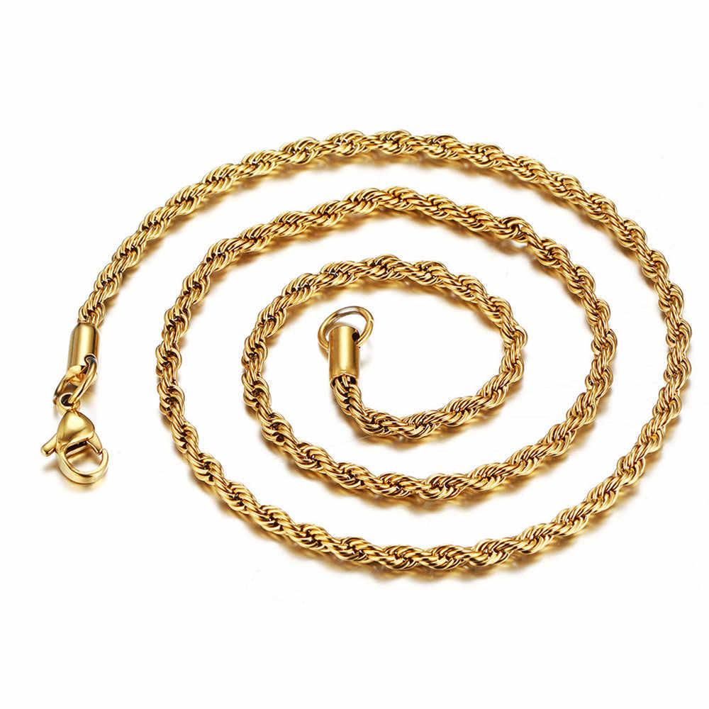 Mężczyźni kobiety Hip Hop raper łańcuch 3mm ze stali nierdzewnej złoty kolor liny Link naszyjnik moda Hip hop biżuteria choker @ 3
