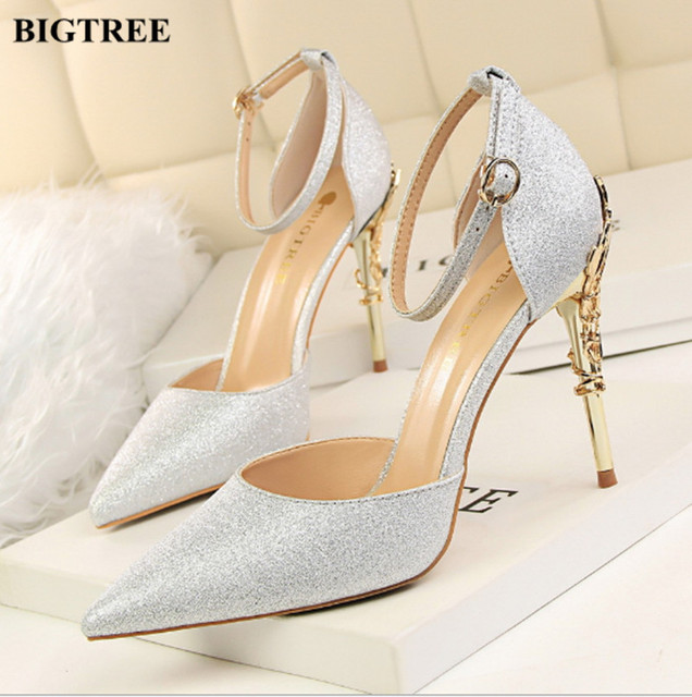 2017 New Fashion BIGTREE Shoes Woman Sexy Stiletto Thin Metal with Shallow  Mouth Hollow Out Pointed