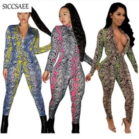 2019 Spring Long Sleeve Bodycon Bodysuit Zipper Turtleneck Snake Skin Printed Bandage Jumpsuits Sexy Club Wear Rompers Pinup