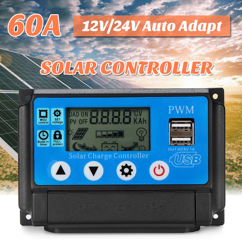 60A 12/24V Solar Charge Controller Auto Work PWN with LCD display Dual USB 5V Output Solar Regulator