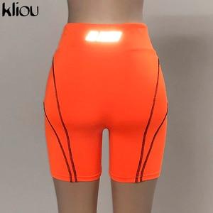 Image 5 - Kliou ผู้หญิงกางเกงขาสั้นสะท้อนแสงพิมพ์สูงเอวด้านล่าง 2019 ฤดูร้อน BIKER กางเกงขาสั้น Beach เสื้อผ้า