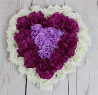 จัดส่งฟรี10ชิ้น/ล็อตประดิษฐ์ผ้าไหมกุหลาบตกแต่งรถแต่งงานรูปหัวใจประตูพวงหรีดงานแต่งงานที...