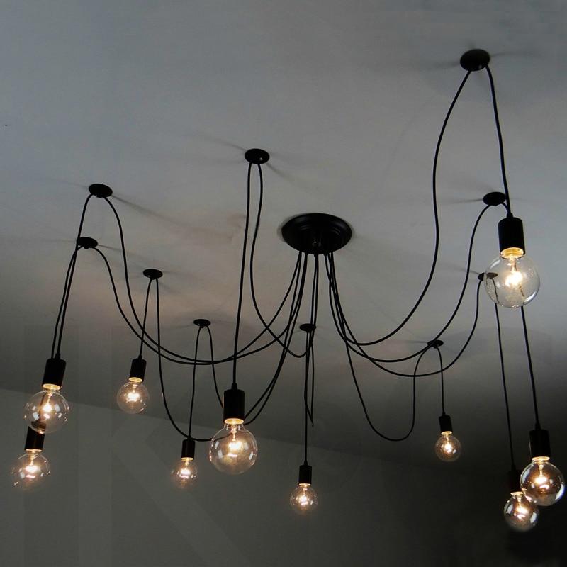 Inclue bulbs Vintage Nordic Retro Edison Bulb Pendant Lamps Loft Antique Adjustable DIY E27 Lights Creative Spider Lighting