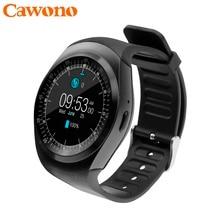 Cawono Bluetooth Smartwatch Y1 Smart Watch Reloj Relogios 2G GSM SIM App Sync Mp3 for Apple iPhone Xiaomi Android Phones Black