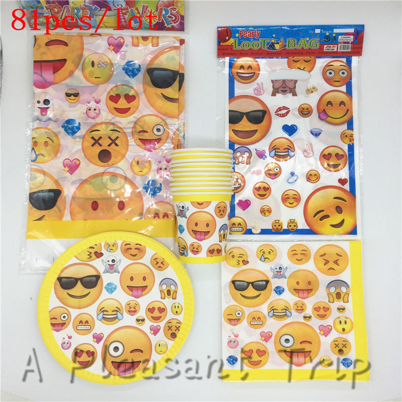 81pcs/lot emoji Emoticons Theme Set Tableware Birthday Party Decoration Kids Party Supplies Home Christmas Decoration Set 81pcs/lot emoji Emoticons Theme Set Tableware Birthday Party Decoration Kids Party Supplies Home Christmas Decoration Set