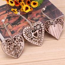 12PCS Wedding Decoration Wooden Hearts Hollow Pendants DIY Home Christmas Party Mariage Ornaments Decor Supplies