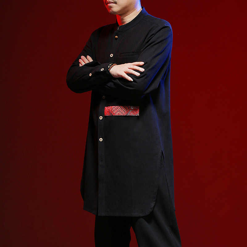 43c5d80e5 ... MRDONOO Long shirt men's retro Chinese style linen long shirt autumn  cotton linen shirt Tang suit ...