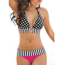 P j Women RETRO Vintage Sexy High Waist Bikinis Set Swimsuit Bandage Swimwear Bathing Suit Beachwear
