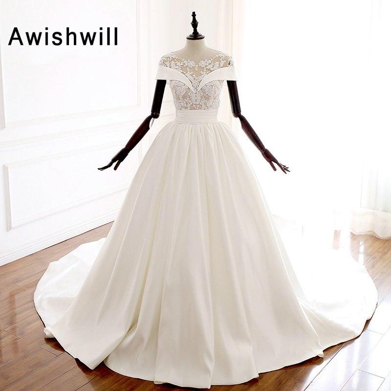Vestido de Noiva Beaded Applique Princess Wedding Dresses Short Sleeve Chapel Train Satin Vintage Wedding Gown Bridal Dress
