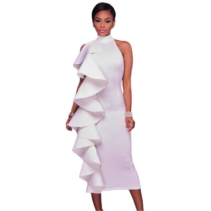 ADEWEL 2017 Women Big Ruffles Midi Elegant Dress Sexy Open Back Bodycon Party Dress High Neck Vintage Pencil Dress 14