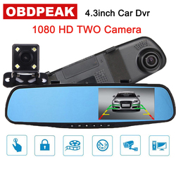 4,3 Автомобильный видеорегистратор Зеркало заднего вида вождения видео Регистраторы с Ночное видение Full HD 1080p автомобиля Обратный изображен...
