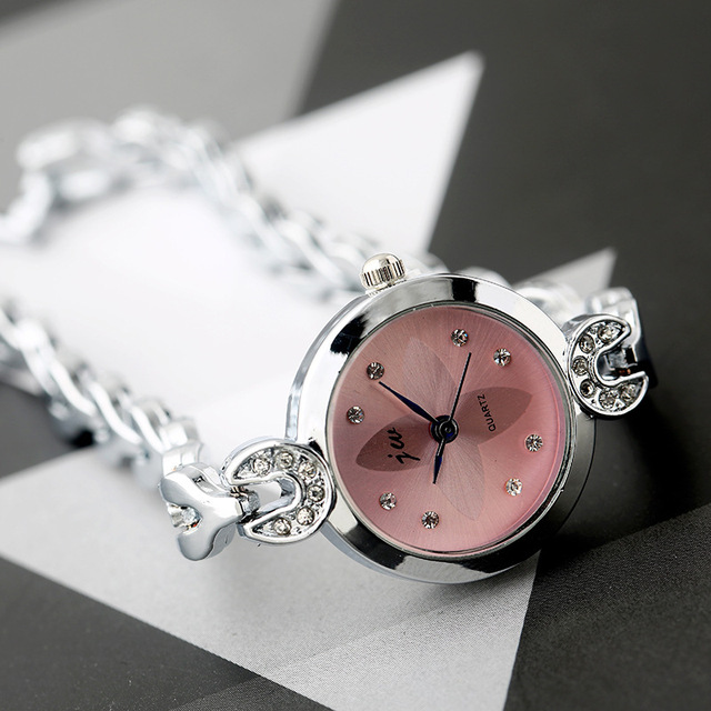2017 Silver Bracelet Watches Clock Women Luxury Brand Crystal Stainless steel Dr