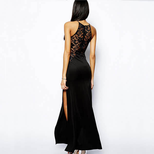 3b2d69fa93142 2018 Summer Side Slit Sexy Lace Dresses Sleeveless Maxi Gown Side ...