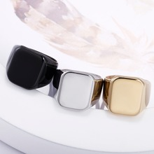 Stainless-Steel Signet-Ring Square Customize Black Finger Engrave-Photo-Logo Gold-Color
