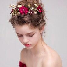 Свадебные повязки на голову с цветком красного вина, жемчугом, повязка на голову, украшение для волос с бабочкой, свадебная корона, аксессуары, тиара Фиори