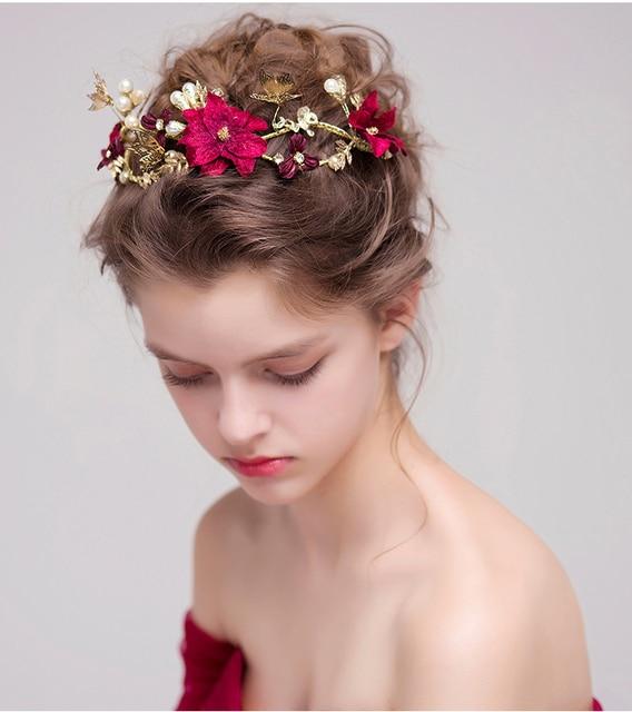 Idealway Women Bridal Wine Red Flower Headbands Handmade Simulated Pearls Hairband Erfly Hair Jewelry Wedding Accessories