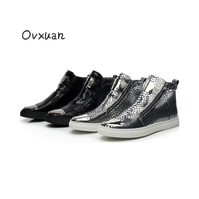 Ovxuan Snake Pattern Leather Men Casual Shoes with Metal Piece Toe Fashion Party & Banquet Men Loafers Side Zip Male Dress Shoes 2017 new flats men shoes zip round toe leather men loafers shoes fashion brand outdoor shoes casual sapatos masculino