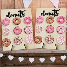 Ensemble de supports muraux en bois pour donuts, décoration de mariage à réaliser soi même, présentoir à donuts à donuts, décor mural pour fête prénatale danniversaire