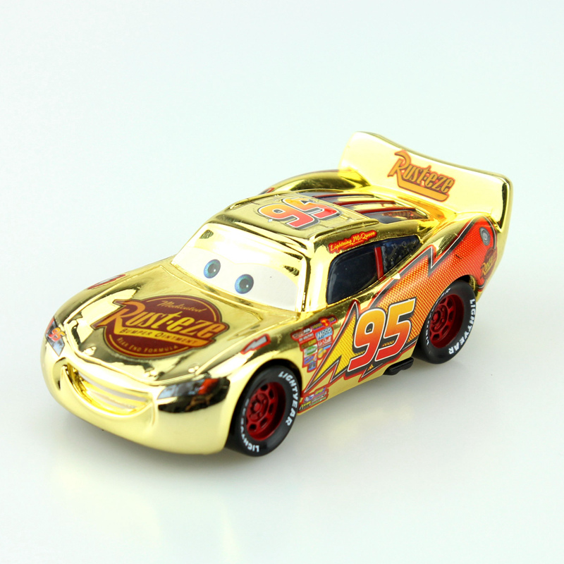 Disney Pixar Cars Golden Silver Version Lightning McQueen Diecast Metal Toys Car For Children Gift 1:55 Loose New In Stock